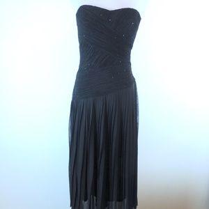 NEW SUE WONG BLACK greek goddess STRAPLESS Dress 8
